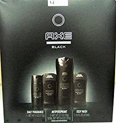 AXE NEW 2016 BLACK 4 Piece Gift Set Box for Him + FREE 2-Pack of Schick Twin Blade Razors: DAILY FRAGRANCE BODY SPRAY