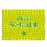 Einschulung Einladungskarten - Endlich Schulkind - Grün - 5er Set