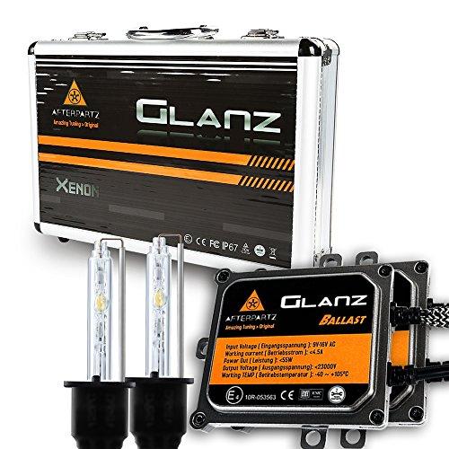 Kit di Conversione HID, AFTERPARTZ® Glanz AC 55W 6000K con 3 Secondi 100% Completa Rapida Light Up HID Faro Allo Xeno Lampadina (H7)