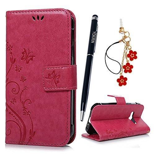 YOKIRIN Xcover 3 / G388 Wallet Case Schutzhülle für Samsung Galaxy Xcover 3 / G388 (4,5 Zoll) Schmetterling Hülle Zubehör Etui PU Leder Handytasche Bookstyle Stand Kartenfächer Magnet Case Rose Rot (Galaxy Case Wallet Samsung 3)