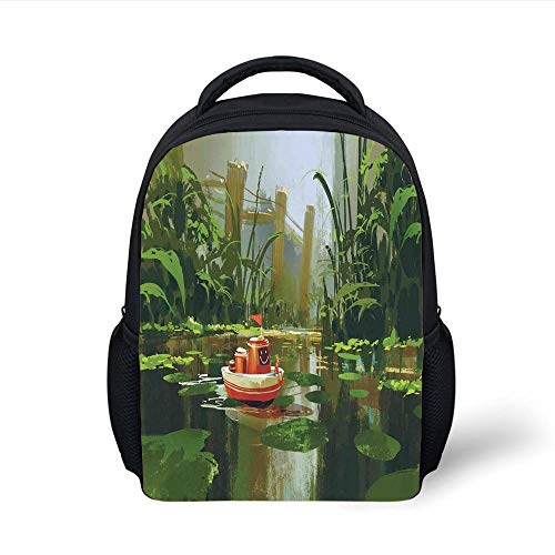 Kids School Backpack Fantasy Art House Decor,Toy Boat with Smile Face Sailing on River in Forest Cartoon Inspired,Red Green Plain Bookbag Travel Daypack