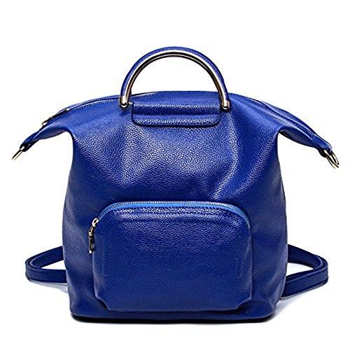 Meoaeo La Nuova Moda Borse Zaino In Pelle Fashion Ladies Multifunzionale Capacità Di Grandi Dimensioni Blu blue