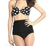 Sexy Sommer-Bikini Set Strand Frauen hohe Taille Neckholder-Top gepolstert, Bademode, Badeanzug Gr. L, Schwarz - Schwarz