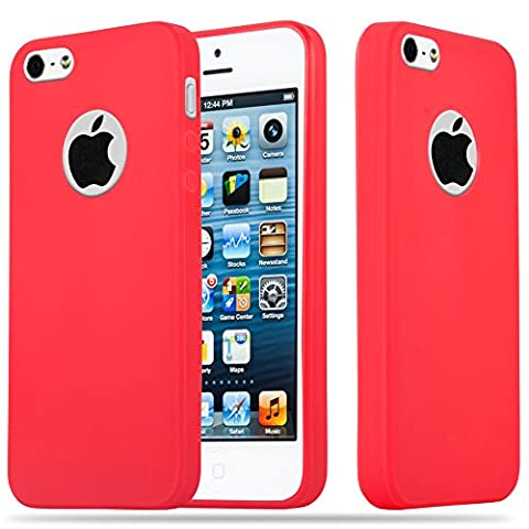 Cadorabo - Ultra Slim TPU Candy Etui Housse Gel (silicone) pour Apple iPhone 5 / 5S - Coque Case Cover Bumper en CANDY-ROUGE
