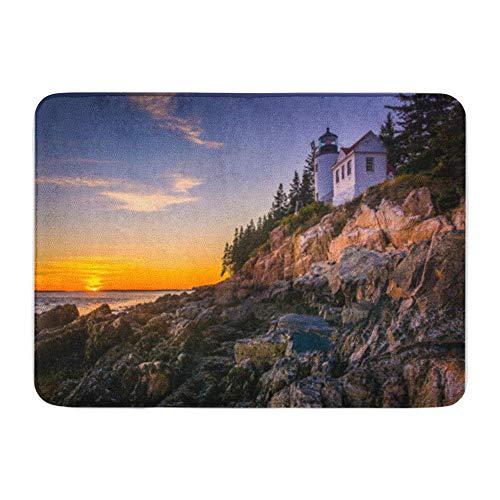 Soefipok Badvorleger Flanellstoff Weiches, saugfähiges Bass Harbor Lighthouse bei Sonnenuntergang im Acadia National Park Maine Gemütlicher, dekorativer, Rutschfester Badvorleger