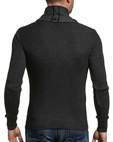 BLZ jeans - Pullover schwarzer Mann abnehmbaren Schal Ende Schwarz