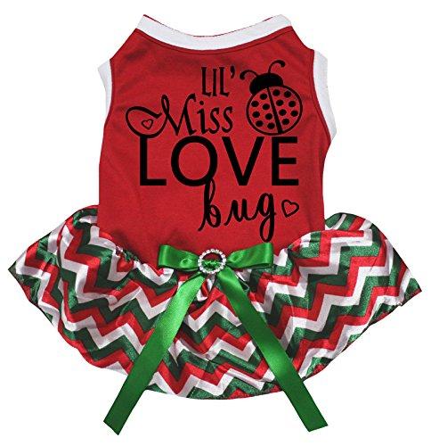 eidung Hund Kleid Lil 'Miss Love Bug Rot Top Chevron Tutu (Lil Rot Kostüm)