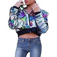GAGA Women Party Clubwear Sexy Zipper Sequin Jacket Coat Outwears 1 XS