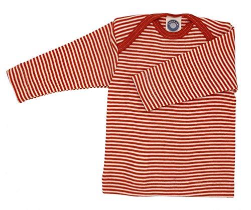 Cosilana Baby Schlupfhemd, Größe 62/68, Farbe geringelt Safran-Orange Natur - Wollbody®GmbH -