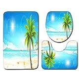 VNEIRW 3-teiliges Set, Retro WC - und Badezimmer Vorleger - Set (Bad Teppich + Pedestal Teppich + Toilettensitzabdeckung), Kokosnussbaum Palme Sunset Beach Print Badematten Set (F)