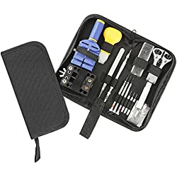 Veewon Watch Repair Tools Kit Set Watchmaker Watch Tool Battery Changing Tool Back Case Opener Wrist Strap Adjust With Carrying Case, Pack of 13
