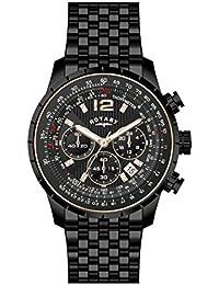 Rotary GB60170/04 - Reloj para hombres, correa de acero inoxidable chapado color negro