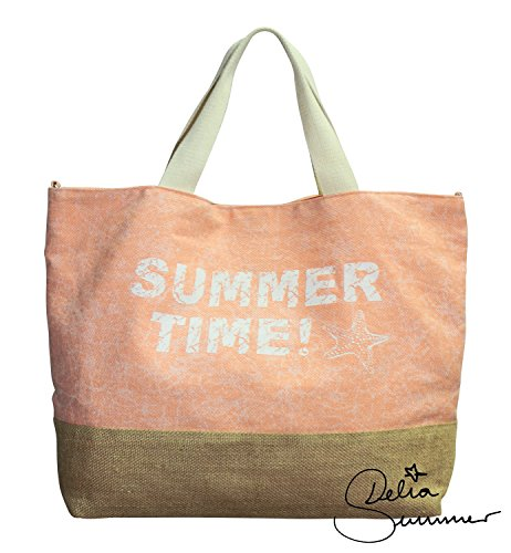 Delia-Summer-Strandtasche-Summertime-Bolsa-de-playa-rosa-salmn