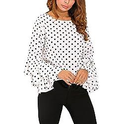 Goodsatar Moda De Las Mujeres Manga de Campana Camisa Suelta del Lunar Señoras Casual Blusa Tops (L, Blanco)