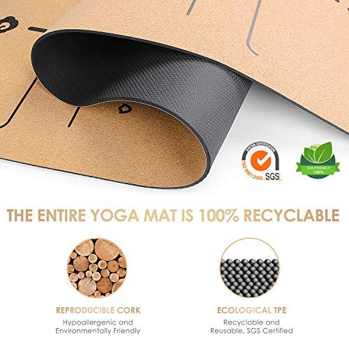 konjac Esterillas Yoga, Esterilla Deporte, Colchoneta Yoga de Corcho, Esterillas Yoga Antideslizante Hecha de Material Natural con Sistema de Línea, Yoga Mat de 183x65cm, 6mm