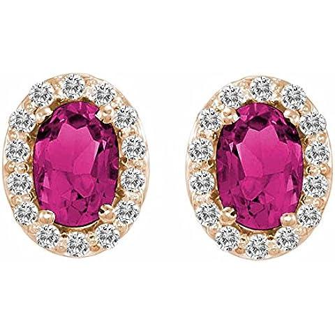 Ryan Jonathan tormalina rosa e diamanti Orecchini in oro rosa 14K