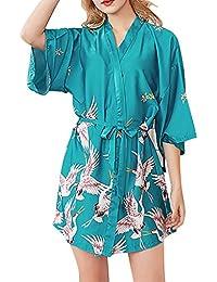 OPAKY Kimono Mujer Batas Cortos Lenceria de Aspecto Brillante Mujeres Simulación Seda Damas Pijamas Lencería Bata Albornoz Novia Bata…
