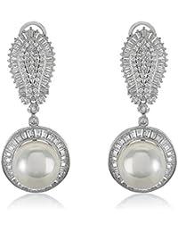 Shaze Pearl Trend Silver Earrings For Women | Earrings For Girls | Earrings For Women Stylish | Fancy Party Wear...