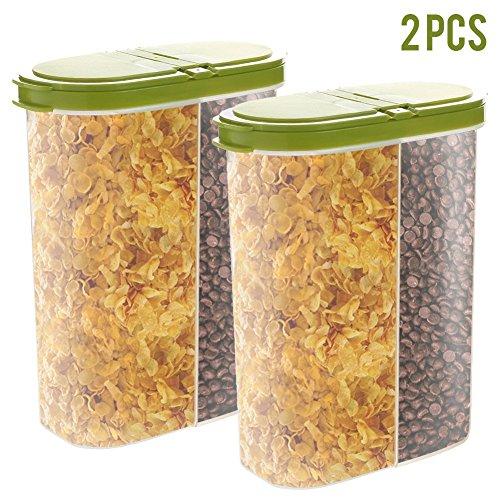 2 recipientes herméticos para cereales, dispensador de alimentos secos, capacidad para aperitivos, tuercas de harina de azúcar con tapa abatible y boca grande para facilitar la alimentación, color verde
