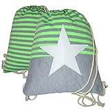 Turnbeutel Rucksack Beuteltasche mit Kordel Stern Streifen Star & Stripes Muster Neonfarbe Neon PU-Leder-Stern (Neon-Grün)