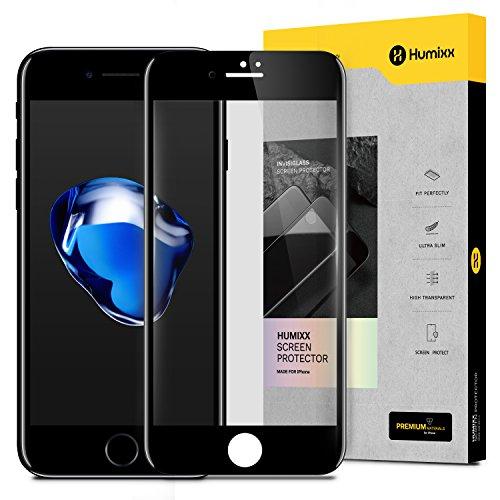 iPhone 8 Schutzfolie,iPhone 7 Schutzfolie, HUMIXX Panzerglas 3D Gebogen Full Deckung, 9H Härte, Anti-Kratzen, Anti-Öl HD Gehärtetem Glas (Klar Schwarz)