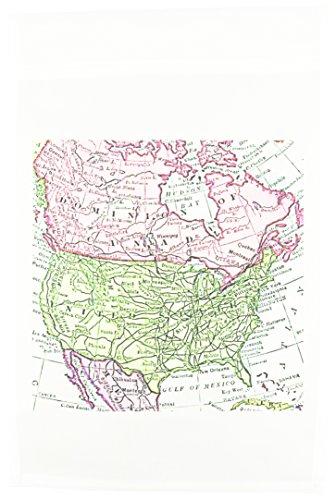 3dRose FL_112937_1 Vintage Karte von Nordamerika, Kanada Mexiko, verblasste Optik, Geographie, Reisekarten, Rosa, Grün, 30,5 x 45,7 cm -