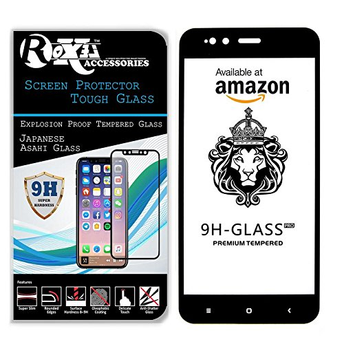 Roxel Redmi Mi A1 Full Glue Tempered Glass Screen Protector Screen to Screen Fit Full 9H Hardness Bubble Free Anti-Scratch Crystal Clarity 2.5D Curved Screen Guard for Redmi Mi A1 Black Colour