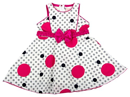 Kuchipoo Baby Girl's A-Line Dress (White & Pink, 1-2 Years)