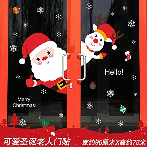 VHVCX Weihnachten Alte Wandaufkleber selbstklebende wasserdicht Mall Schaufensteraufkleber Glastüren Weihnachtsschmuck, Türaufkleber niedlicher Weihnachtsmann, König