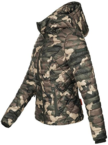 Marikoo Damen Jacke Steppjacke Übergangsjacke mit Kapuze gesteppt B600 [B600-Samt-Camo-Gr.S] - 2