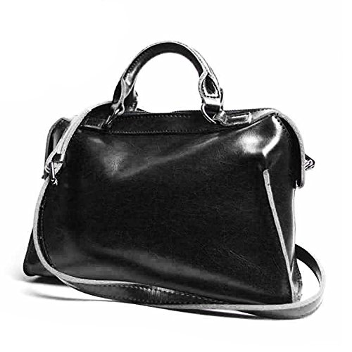 Leathario Borsa donna pelle vera tracolla marrone spalla a mano eleganti lavoro vintage cuoio fashion borsone sacca shopping weekend nero