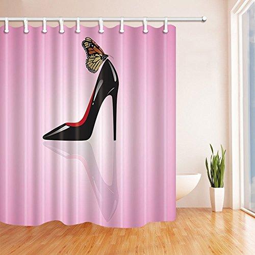GoHEBE Teen Mädchen Decor Vorhänge Dusche von Womanly Sexy High Heel Schuhe mit Schmetterling pink Hintergrund Bad Vorhänge 180,3x 180,3cm -