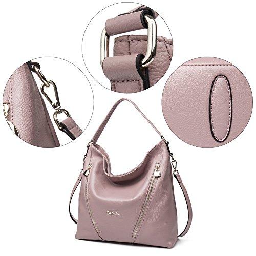 BOSTANTEN Vera Pelle Borsa Donna Sacchetta Tote a Spalla Manico Shoulderbag Top-Handle rosa