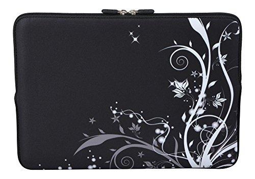 MySleeveDesign Laptoptasche Notebooktasche Sleeve für 10,2 Zoll / 11,6-12,1 Zoll / 13,3 Zoll / 14 Zoll / 15,6 Zoll / 17,3 Zoll - Neopren Schutzhülle mit VERSCH. DESIGNS - Flowers White [13]
