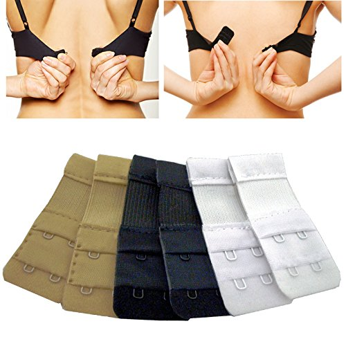 Price comparison product image Medipaq® Bra Strap Extenders x6 - 2 HOOK - (2xBlack, 2xWhite, 2xNude). Don't Throw Away That Tight BRA!