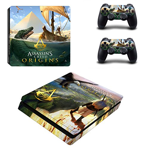 Playstation 4 Slim + 2 Controller Aufkleber Schutzfolien Set - Assassins Creed Origins (2) /PS4 S