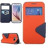   Handyschutz in Perfektion   Ultra Slim Premium Flip Cover Tasche Schutz Hülle mit Silikon Innen Schale Original Roar Fancy Case Für Samsung Galaxy S6 Orange