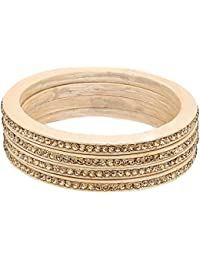 Bangle Set | Beige Color | Golden Stone Work | Made Of Lac | Bangle Set For Women ( Golden Colour ) - By The Lakh