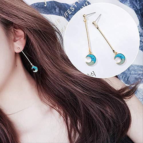 Trendy Sweet Girl Japanische Blue Star Moon Asymmetrie Geometrie Lange Ohrringe Baumeln Ohrringe Für Mode Frauen Schmuck Zubehör16 (16 Neon Sweet)
