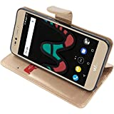 ebestStar - Coque Wiko Upulse Lite Etui PU Cuir Housse Portefeuille Porte-Cartes Support Stand, Or/Doré [Appareil: 144 x 72 x 8.4mm, 5.2'']