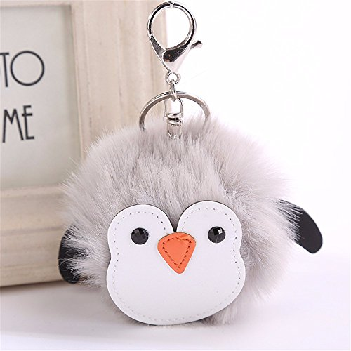 LEEDY Cute Penguins Portachiavi Ciondolo Donna Portachiavi Pompon Portachiavi, Xmas Decor Ciondolo Ornamento Decorazioni Natalizie Accessori, 10 cm, Grey, Multi-Colored
