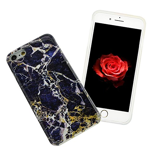 iPhone 6S Plus Marmor Hülle,iPhone 6 Plus Marble Case,Sunroyal Kreative Stylish Schickes Retro Elegant Schön Lila Gelb Achat Stein Pattern Silikon Handyhülle Weiß Stein Glamour Ultradünn Marble Malere Pattern 22