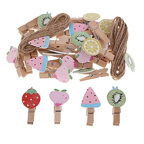 Homyl 30 pcs Mini Holzklammern Deko Klammern Wäscheklammern Zierklammern Bunt - Obst, 3,5 × 1,6 × 1 cm (Mit Halloween-basteln Garn)