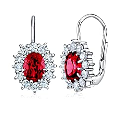 Idea Regalo - Orecchini d'argento con rubino rosso ovale argento Sterling 925