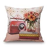Happy Cool fiore quadrata in cotone stampato cuscino decorativo Cuscino 45,7x 45,7cm, Radio, 18'x 18' Cover