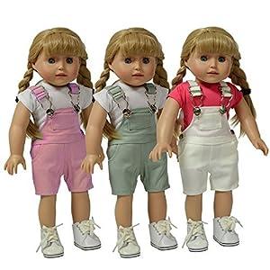 The New York doll Collection- Conjunto de 3 Overoles Twill: Rosa, Gris y Blanco, (D333)
