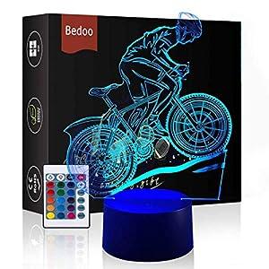HeXie Christmas Gift Magic Flying Lámpara de bicicleta 3D Illusion 7 colores Touch Switch USB Insertar luz LED Presente de cumpleaños y decoración de fiesta