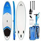 FIT OCEAN Magic Glide 10'8 Aufblasbares 15 cm Dickes Stand Up Paddelboard. Inkl. Doppelhub-Pumpe + guter Rucksack. iSUP 330x81x15cm (Board+Doppel Action Pumpe+Aluminium Paddel+Rucksack)