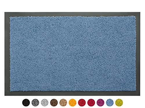 Schmutzfangmatte Sauberlauf Matte DANCER - Blau, 40x60 cm, Waschbare, Rutschfeste, Pflegeleichte Fußmatte, Eingangsmatte, Küchenläufer Matte, Türmatte Haustür Innen & Außen