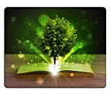 luxlady Mousepads offenes Buch mit magischen grün Baum und Strahlen von Licht auf Holz-Deck Bild 21351304Art Desktop Laptop Gaming Mauspad